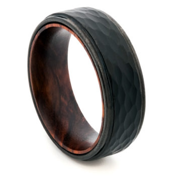 black tungsten wood ring