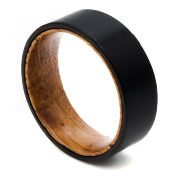 black mens ring wood inlay
