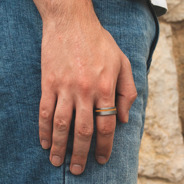 steel and wood ring