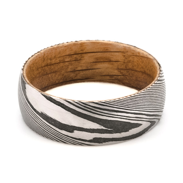 wood and steel damascus ring